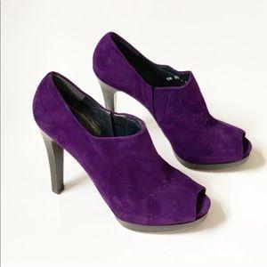 Stuart Weitzman Purple Suede Platform Heels 11M